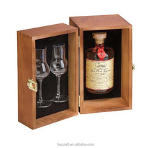 2015 best selling natural color solid cedar wood wine box from Chinese suppliers, Pine wood wine box for 1 bottle and 2 glasses