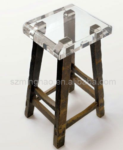 Backless clear acrylic counter height bar stools Plexiglass bench with wooden legs