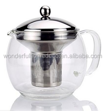 large volum Glass Teapot with Infuser for Blooming and Loose Leaf Tea Pot/pyrex glass teapot with stainless steel infuser