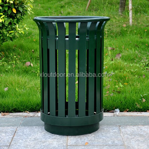 steel slat welded outdoor galvanized metal waste recycling bin