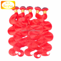 Colorful Hot Red Brazilian Virgin Human Hair Weaves Wefts Body Wave Hair Extensions
