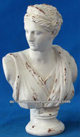 WHITE POLYSTONE FEMALE BUST SCULPTURE