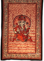Lord Ganesha Red Indian Mandla Hippie Tapestries 100% Cotton Bohemian Wall-Hanging Tapestry Manufacturer In India Jaipur
