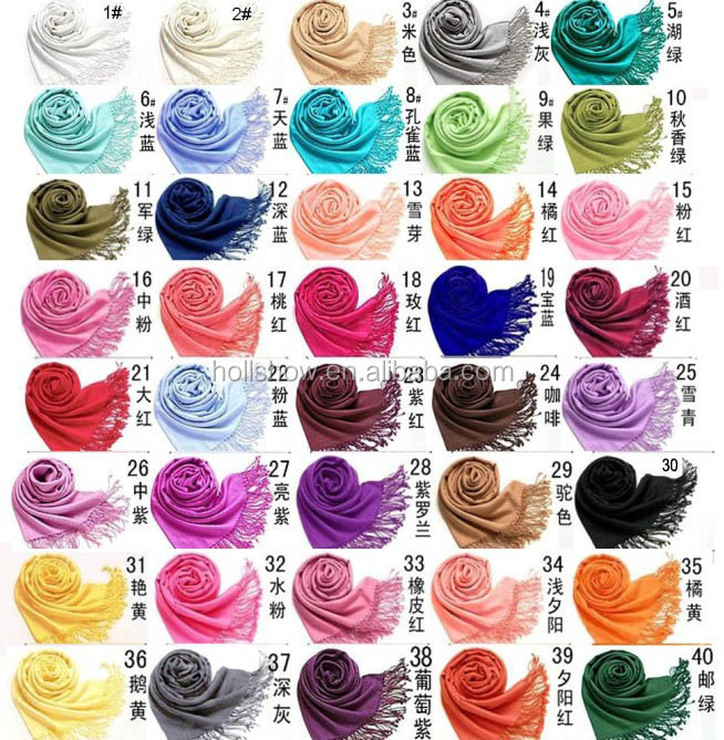 Wholesale Fringed 70% Pashmina 30% Silk Solid Color Plain Pashmina <strong>Scarf</strong>