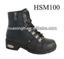 XM,women favored military,army style side zip high heel police boots easy on and off