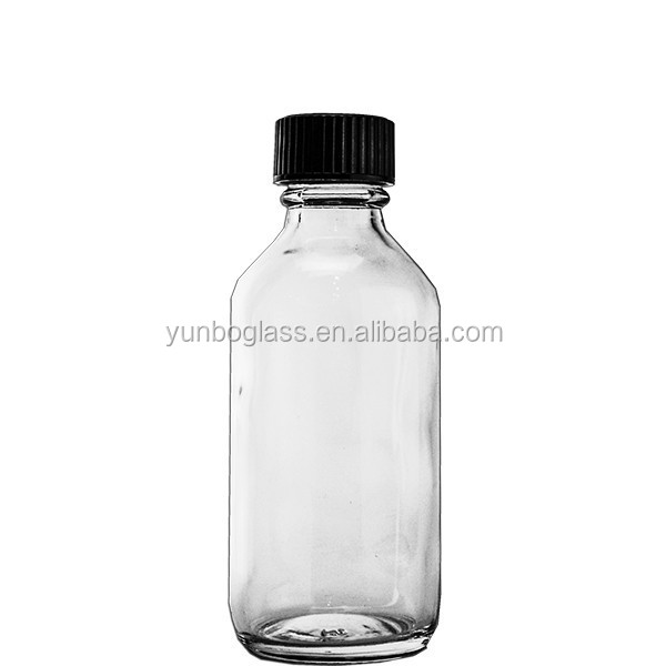 Preserving Liquid Medicine or Oil Clear Boston Round Glass Bottle 2oz with Black Screw Cap