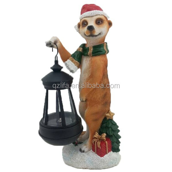 Hot sale resin crafts christmas meerkat figurines solar lights in new products