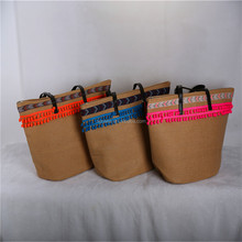 Customized wholesale recycled single shoulder small ladies tote summer beach woven paper straw bag