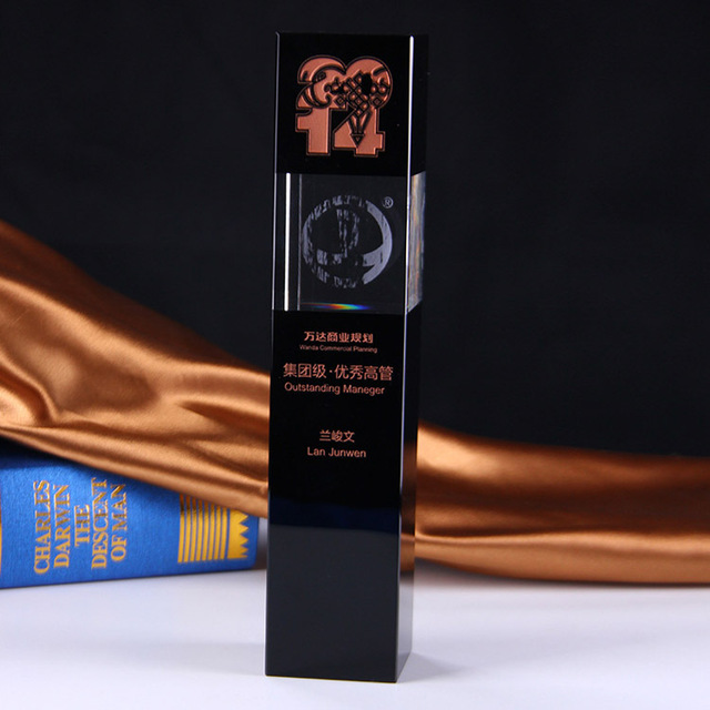K9 black pillar shape crystal plaque 3d laser engraving crystal trophy
