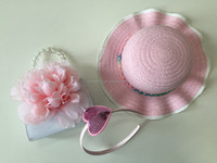 summer beach hat flower pvc bag and sequin heart headband for baby and kids