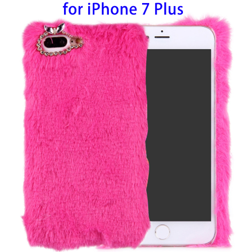Hot Sales Diamond Encrusted Rabit Furry Fur Phone Case for iPhone 7 Plus Case