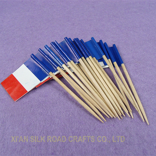 mini size france flag toothpick with wood stick