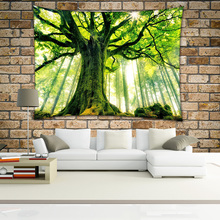 Beautiful tree nature view home decoration cheap wall hanging polyester tapestry for living bedding room
