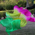 Belly Dance Chinese Real Natural Silk Fan Veils, Pure Silk Material, 1.8*0.9M, FUSCHIA/YELLOW/GREEN