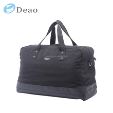 Large capacity travel bag black canvas luggage bag heavy duty durable travelling bag
