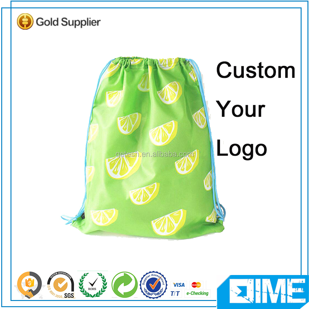 Custom Printed Drawstring Shoe Bags Backpack Cotton