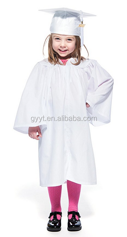 high quality elegant Graduation gowns chlidren hats