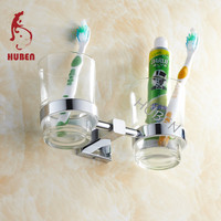 Double cup wall mount toothbrush holder for bathroom