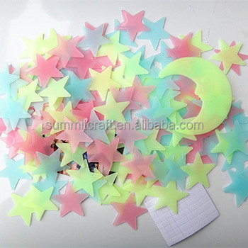 PVC 3cm glow in the dark luminous 3D star wall sticker