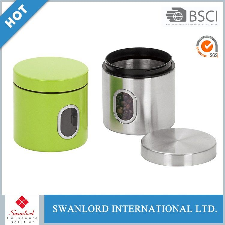 Powder coated tea sugar coffee canisters with wooden lid