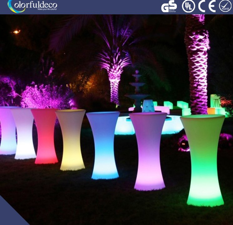 Stylish deign salon and party events waterproof led pool pillar cocktail table rental bar furniture