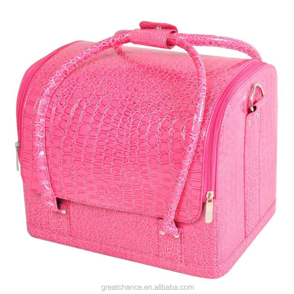Large Faux Leather Beauty Cosmetic Makeup Vanity Case Nail Art Box(XY-441)