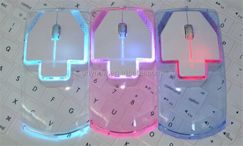 Cool Ultrathin Noiseless Colorful LED Light Transparent Wireless Mouse For Personal Compture