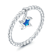 Rhodium Plated Genuine 925 Sterling Silver AAA CZ Blue Star Opal charm Beaded Ring