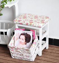 Rural rustic furniture accessories corner sitting soft cusion stool with storage basket