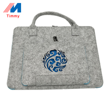 2017 online shop China wholesale cutome multifunction water proof grey felt laptop bag