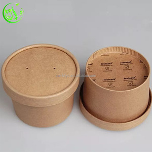 thermal disposable take out wholesale wax paper soup cups with sleeve lids