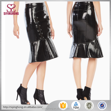 New design women tight shiny wrap fishtail leather skirt for club wear