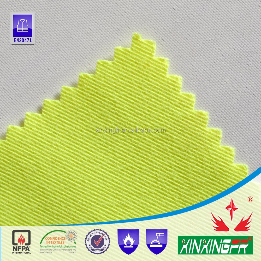 EN20471 cvc 80/20 hi-vis yellow fr flame retardant anti-static water repellent twill fabric