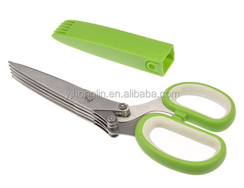 2017 office paper cut shredding scissors stainless steel multi blade 5 blade herb scissor with cleaning tool