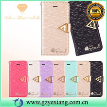 China factory diamond pattern pu leather back cover case for Samsung g7 wallet flip case with card holder