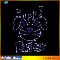 Artsky hotfix crystal strass rhinestone applique hoppy Easter Sunday rabbit custom iron on transfers for t shirts