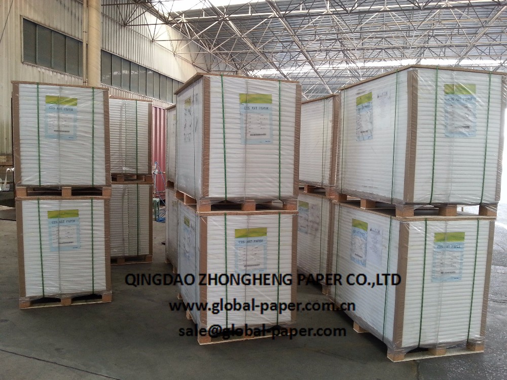 Offset printing c2s glossy art paper in Qingdao, China