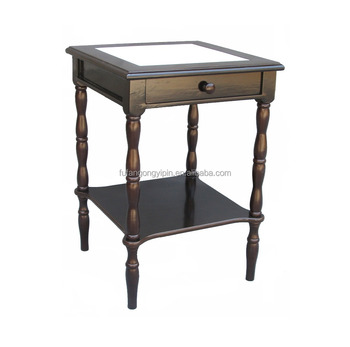 Antique Solid Wood Marble Top End Table