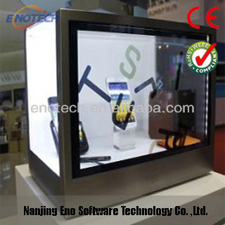 Cheap lcd monitor/screen/display box for advertising, transparent showcase fpr iphone display