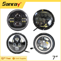 High-output ring lighting harley motorcycle led driving lamp, 10-30V 7inch LED Headlight for Dune Buggy