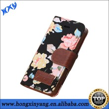 2014 Shenzhen Hot Selling Stand Flower Pattern Wallet Leather Case Witn Credit Card Slot For iphone 5c.