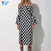 new fashion ladies dress off the shoulder dress printed casual dress
