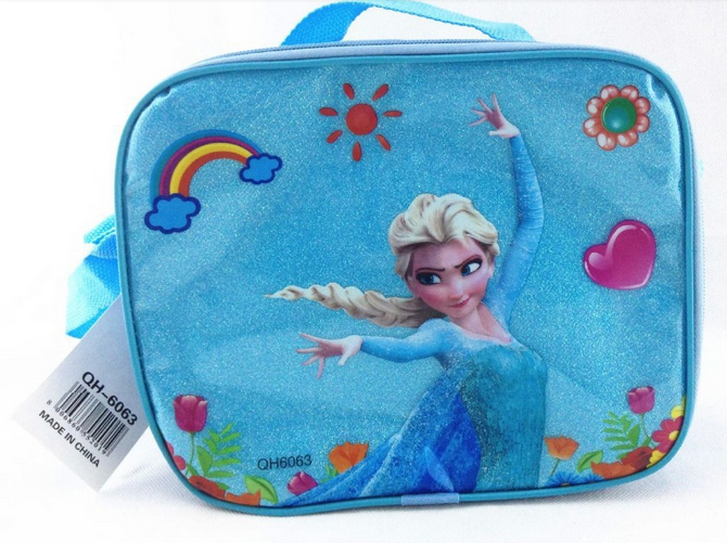 Retail! Hot Sale Frozen Printed Lunch Bag for Girls ( Thermal Lunch Bag+Lunch Box+Water Bottles ) Set Childrens Cooler Bag