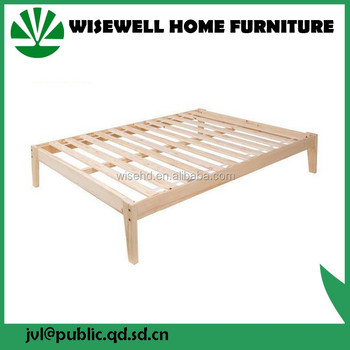 W-B-0086 solid wooden king size bed frame in bedroom