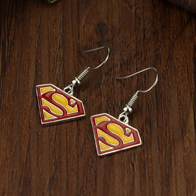 Comic Superhero Superman Earrings Red Enamel S Logo Pendant For Women Fashion Accessories