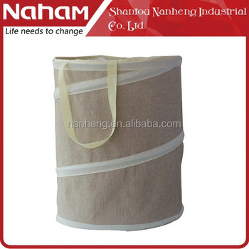Natural Polyester Linen Round Pop Up Collapsible Laundry Hamper
