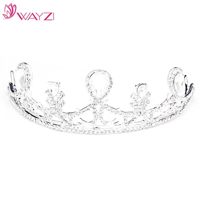 WAYZI brand new design hair band white rhinestone hair accessories ab wedding bridal crystal tiaras and crown