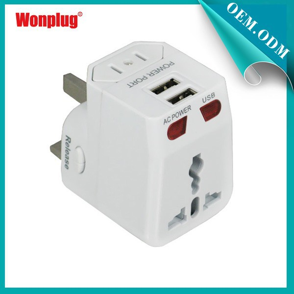 2015 Wonplug Patent Cheap Price Universal World Travel Adapter with Dual USB
