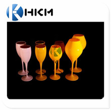 Polystyrene made Yellow colored wine glass/plastic champagne flute for brut outdoor events
