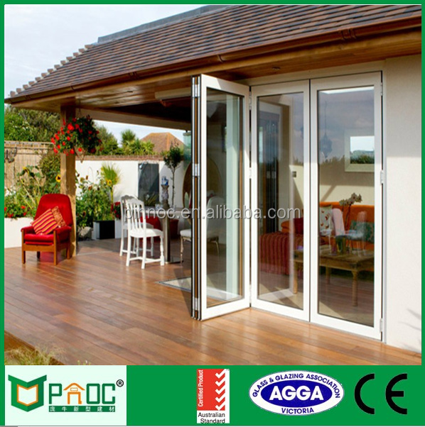 Aluminium accordion door folding with bifold screen and lock